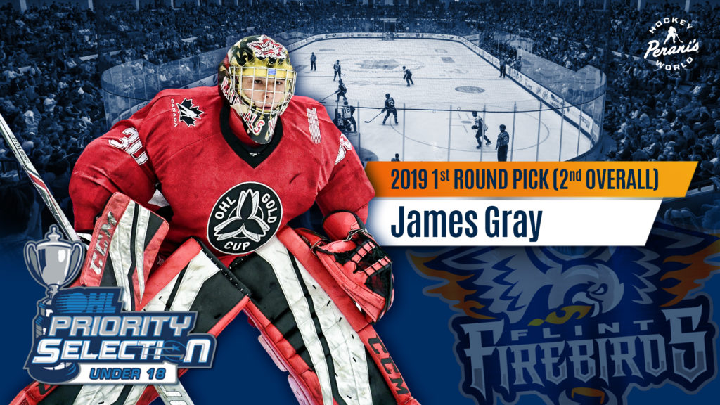 Firebirds Select Goaltender James Gray With Second Overall Pick In