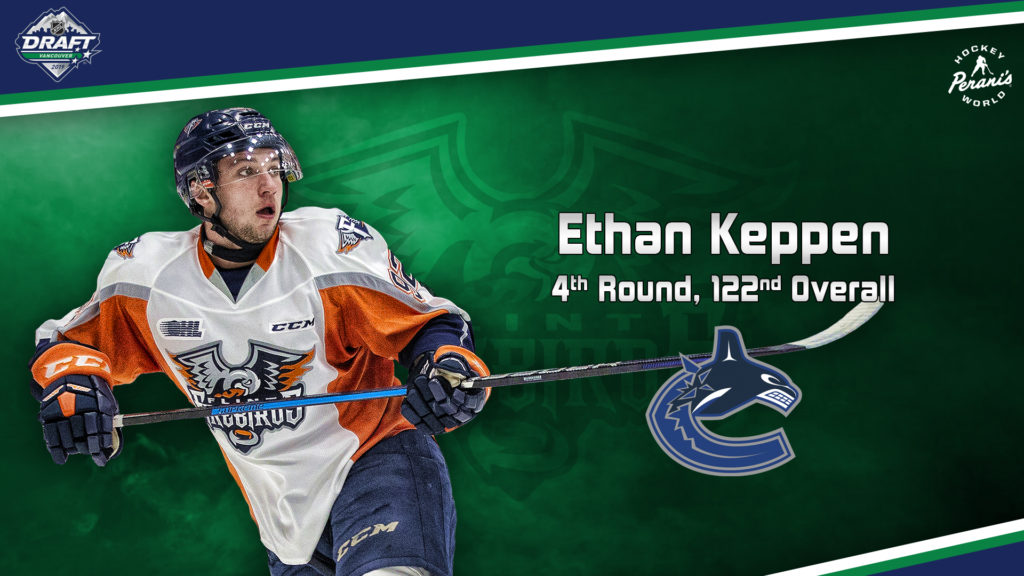online store 2ae35 419ab Keppen Selected by Vancouver Canucks Fourth Round, 122nd ...