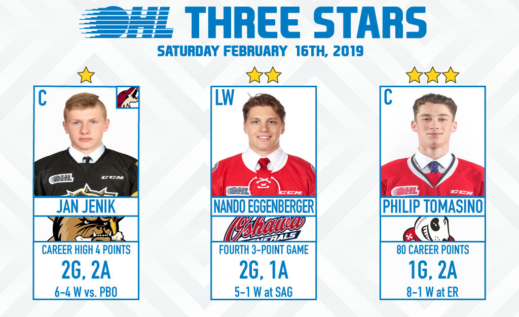 Three Stars February 16 2019 Ontario Hockey League