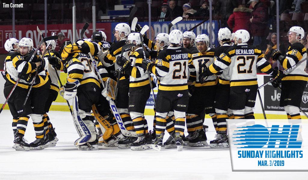 Sunday Highlights Frontenacs Head Home Happy Ontario Hockey League