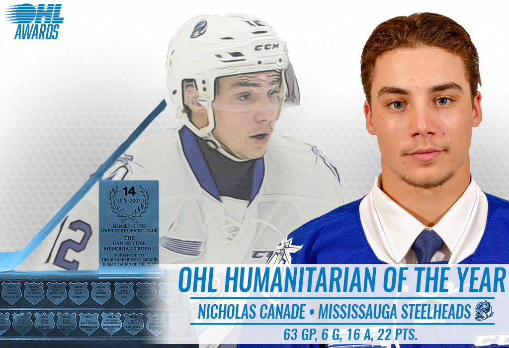 Steelheads Nicholas Canade Named Ohl Humanitarian Of The Year