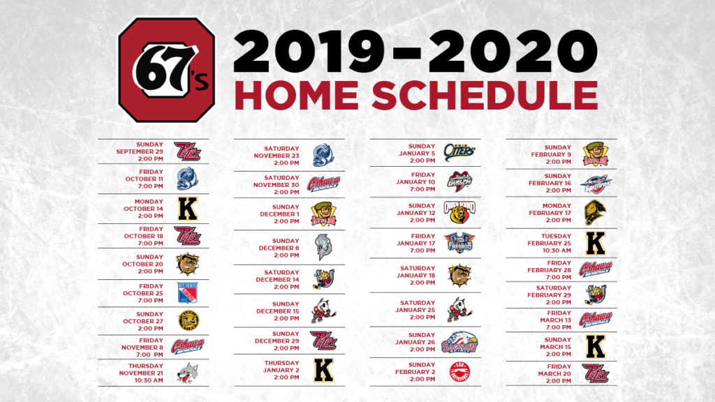 2019-2020 Schedule Released - Ottawa 67s