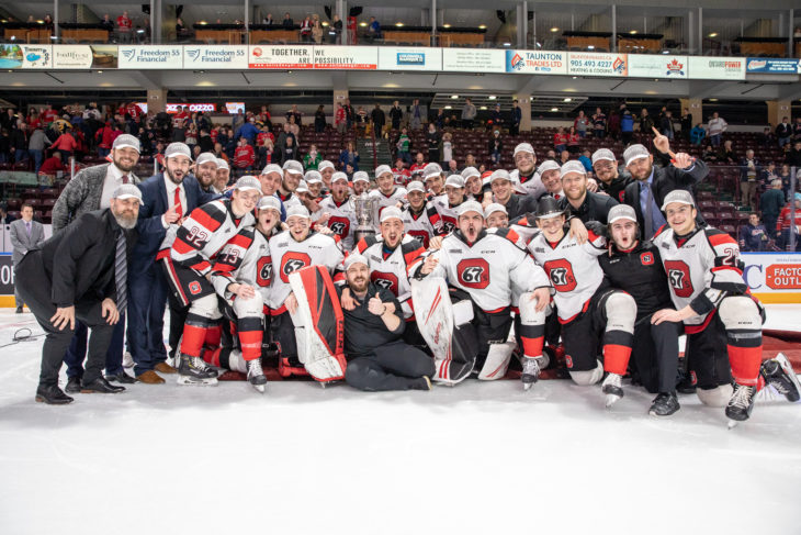 Ottawa 67's are the 2019 Eastern Conference Champions with a thrilling 2-1 OT winner off the stick of Tye Felhaber.