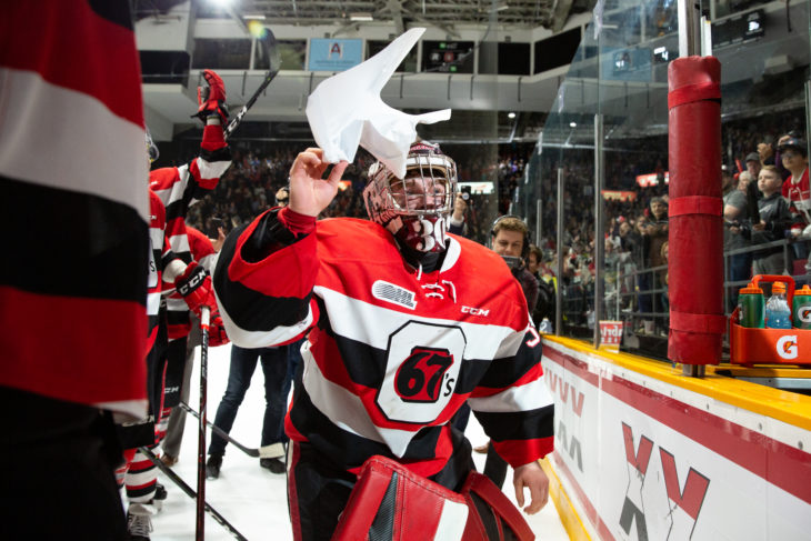 Ottawa 67s G Cedrick Andree adds another 'X' to the wall after the OHL Final game 2 matchup vs. the Guelph Storm at TD Place,Ottawa,ON, on May. 4, 2019. Photo: Greg Mason
