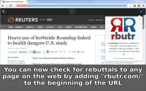 Thumbnail : Adding rbutr.com/ to the beginning of the URL will tell you when rebuttals are present.