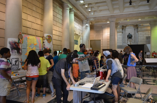 A scene from our first Maker Celebration, which attracted over 200 registered attendees, and 50 youth presenters from libraries across Philadelphia.