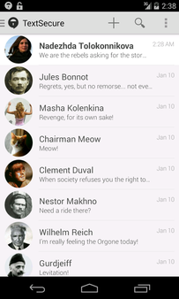 Thumbnail : TextSecure for Android's look and feel.