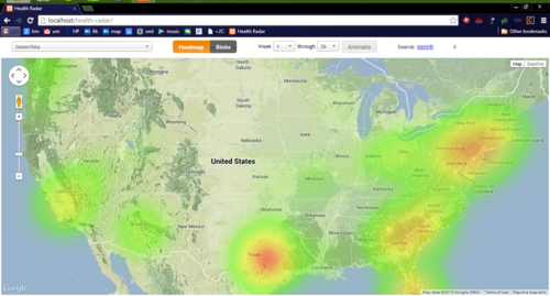 Thumbnail : This is a screenshot from the prototype of the application, depicting a heat map of the prevalence of Gonorrhea.