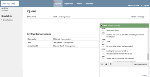 Demo screenshot of what a counselor sees on the CTL platform