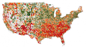 A map of the USA that highlights the location of all the qualified opportunity zones