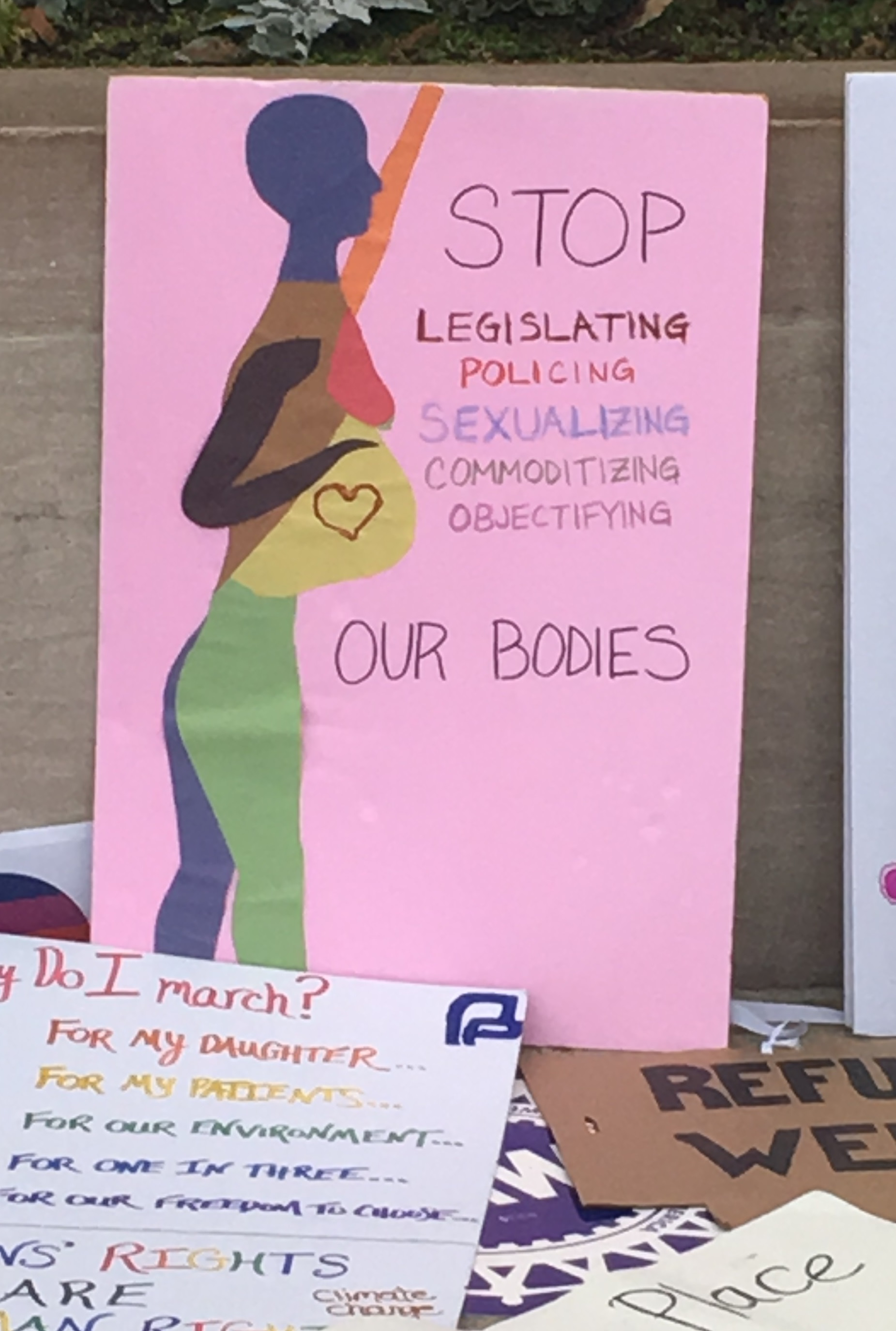 A homemade sign displayed during a 2017 women's march.