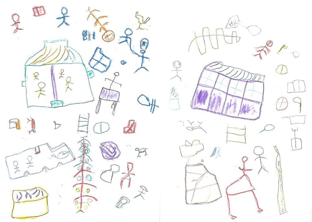 Gift's drawing and the words he used to describe it tell the story of flying to the University Teaching Hospital where Gift's baby sister had been admitted, taking his sister home using a balloon, and caring for her through her illness and into their adulthoods