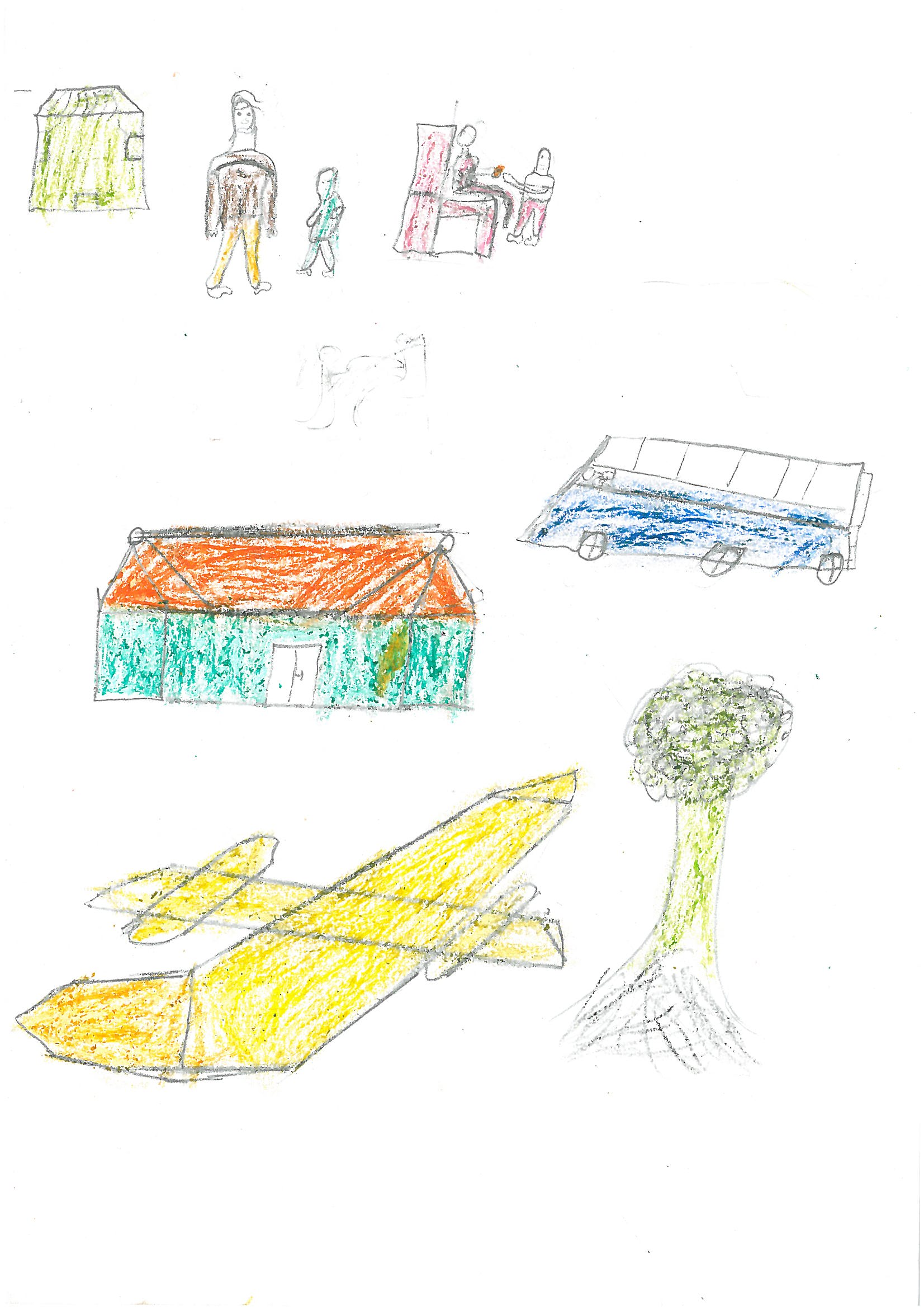 When asked to draw himself taking care of a sick person, Paul drew himself giving his father an orange that he had bought to help his father feel better. He also drew himself accompanying his father to the clinic. At the bottom, he included a drawing of his airplane, the one he used to fly passengers from Zambia to South Africa