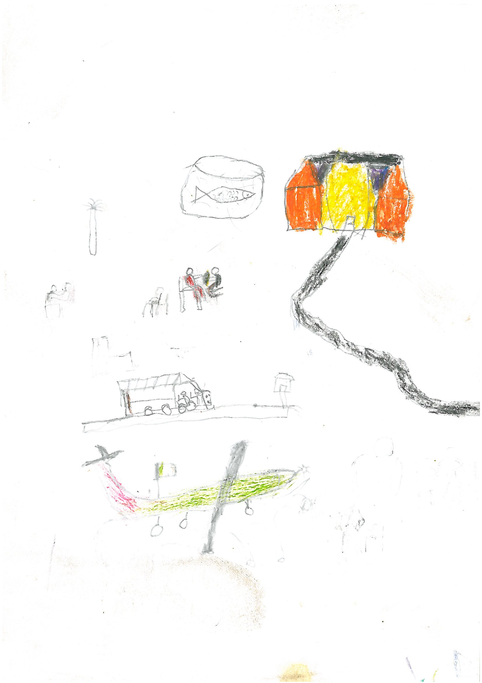 Luka featured Paul's airplane in his own drawing of taking care of a sick person. Luka also drew a fish for his father to eat and scenes of giving his father medicine and taking his father by bus to the clinic