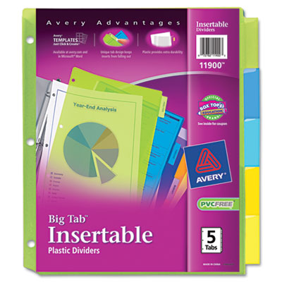 Avery Big Tab WorkSaver Durable Plastic Insertable Dividers