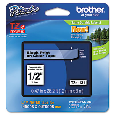 Brother P-Touch TZe Series Standard Adhesive Laminated Labeling Tape