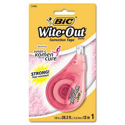 BIC Wite-Out Brand EZ Correct Pink Ribbon Correction Tape