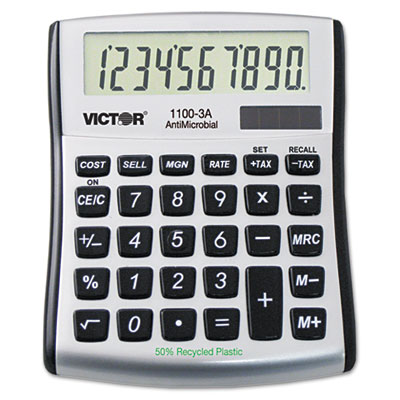 Victor 1100-3A AntiMicrobial 10-Digit Desktop Calculator