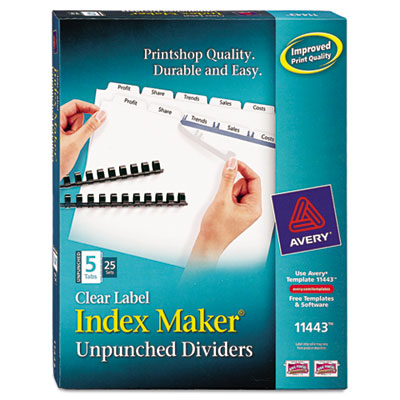 Avery Index Maker Clear Label Unpunched Dividers for Binding Systems with White Tabs