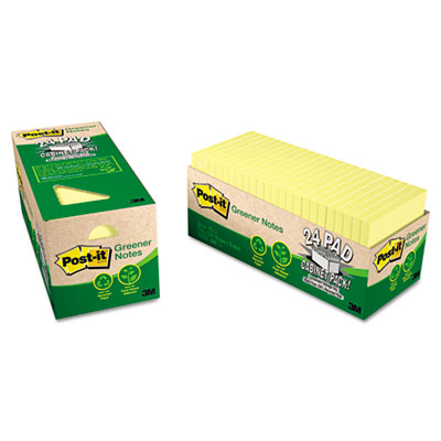 Post-it Greener Notes Original Recycled Pads in Cabinet Packs