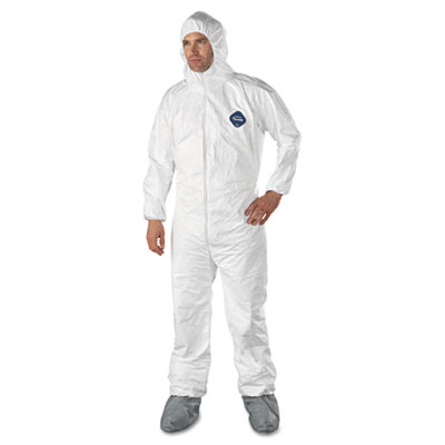 DuPont Tyvek Elastic-Cuff Hooded Coveralls With Attached Boots
