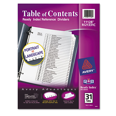 Avery Ready Index Table of Contents Dividers with Black & White Tabs
