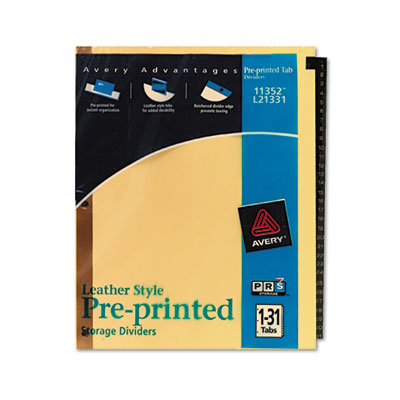 Avery Preprinted Black Leather Tab Dividers with Gold Reinforced Binding Edge