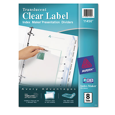 Avery Index Maker Clear Label Punched Translucent Dividers