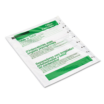 Office Essentials Table 'N Tabs Table of Contents Dividers