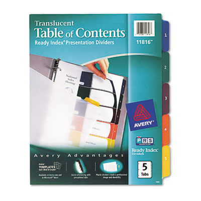 Avery Translucent Ready Index Table of Contents Dividers with Multicolor Tabs