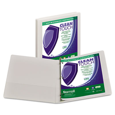 Samsill Clean Touch Heavy Duty Locking Round Ring Antimicrobial Protected View Binder