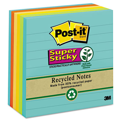 Post-it Notes Super Sticky Recycled Notes in Farmers Market Colors