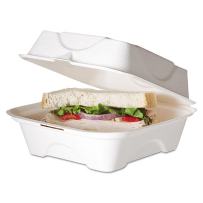 Eco-Products Bagasse Hinged Clamshell Containers