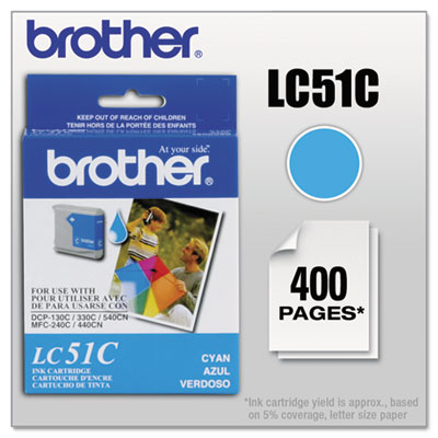 Brother LC51BK, LC51C, LC51HYBK, LC51M, LC51Y Ink