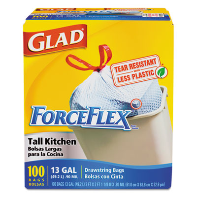 Glad ForceFlex Tall-Kitchen Drawstring Bags