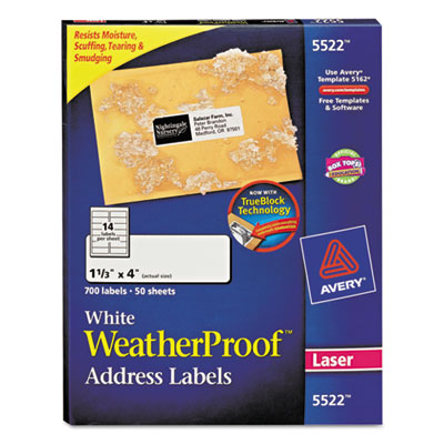 Avery WeatherProof Durable Labels with TrueBlock Technology