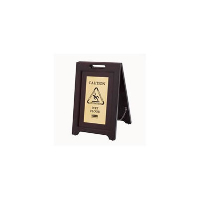 Rubbermaid Commercial Executive 2-Sided Multi-Lingual Wooden Caution Sign