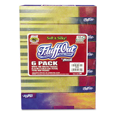 Marcal Fluff Out Convenience Six-Pack Recycled White Facial Tissue