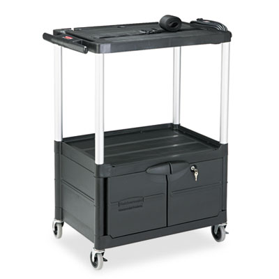 Rubbermaid Commercial MediaMaster Three-Shelf AV Carts with Cabinet