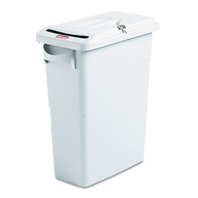 Rubbermaid Commercial Slim Jim Confidential Document Waste Receptacle with Lid