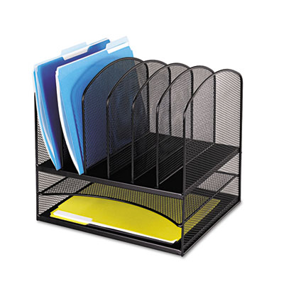 Safco Onyx Mesh Desk Organizer With Two Horizontal/Six Upright Sections