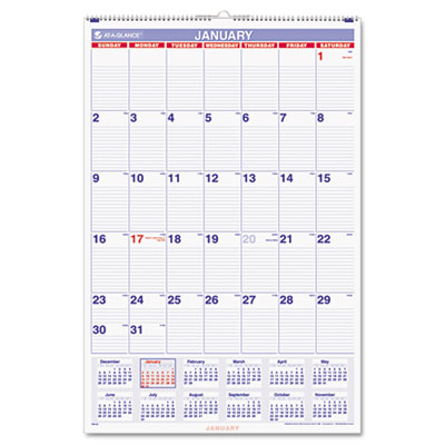 AT-A-GLANCE Monthly Wall Calendar with Ruled Daily Blocks