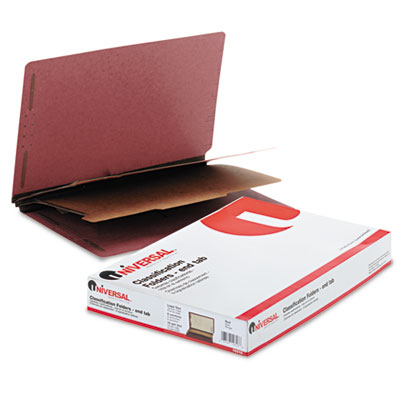 Universal Red Pressboard End Tab Classification Folders
