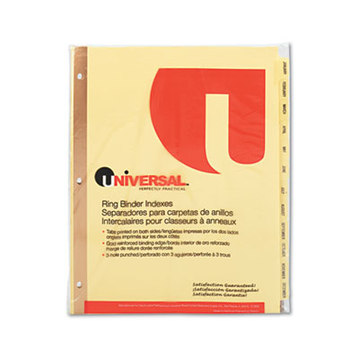 Universal One Preprinted Plastic Coated Tab Dividers with Black Printing