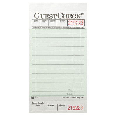 National Checking Company Guest Check Pad with Customer Receipt Stub