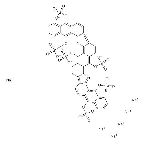 Hexasodium naphtho[<em>2</em>,<em>3-a</em>]naphtho[<em>2</em>'',3'':6',7']<em>indolo</em>[3',<em>2</em>':7,8]n<wbr />aphtho[<em>2</em>,3-i]carbazole-5,7,12,17,19,24-hexayl hexasulfate