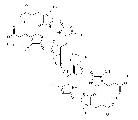<em>methyl</em> 3-[8-[1-[1-[<em>8</em>,12-bis(<em>3-methoxy-3-oxopropyl</em>)<em>-3</em>,7,<em>13</em>,18-tetramethyl-21,24-dihydroporphyrin-2-yl]ethoxy]ethyl]<em>-18-</em>(<em>3-methoxy-3-oxopropyl</em>)<em>-3</em>,7,12,17-tetramethyl-22,23-dihydroporphyrin-2-yl]propanoate