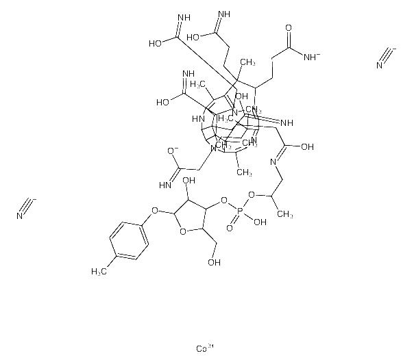 <em>1-</em>[3-[(4Z,9Z,14Z)-2,18-bis(2-amino-2-oxoethyl)-7,12,13,17-tetrakis(3-amino-3-oxopropyl)<em>-3</em>,5,8,8,13,15,18-heptamethyl-1,2,7,12,17,19-hexahydrocorrin-21-id-3-yl]propanoylamino]<em>propan-2-yl</em> [4-hydroxy-2-(hydroxymethyl)-5-(4-methylphenoxy)oxolan-3-yl] phosphat