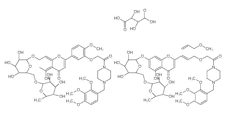 )methyl]piperazin-1-yl]ethoxy]phenyl]-7-[(2S,3R,4S,5S,6R)-3,<em>4</em>,<em>5-trihydroxy-6-</em>[[(2R,3R,4R,5R,6S)-3,<em>4</em>,<em>5-trihydroxy-6-methyloxan-2-yl</em>]<em>oxymethyl</em>]<em>oxan-2-yl</em>]oxych(2R,3R)-2,3-dihydroxybutanedioic acid;5-hydroxy-2-[4-methoxy-3-[2-oxo-2-[4-[(<em>2</em>,<em>3</em>,4-trimethoxyphenyl