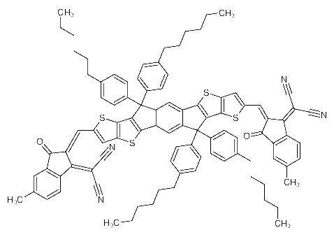 2,2'-[[6,6,12,12-Tetrakis(4-hexylphenyl)-6,12-dihydrodithieno[2,3-d:2',<em>3</em>'-d']-s-indaceno[<em>1</em>,2-b:<em>5</em>,<em>6-b</em>']dithiophene-2,8-diyl]bis[methylidyne(5-methyl-3-oxo-1H-indene-2,<em>1</em>(3H)-diylidene)]]bispropanedinitrile